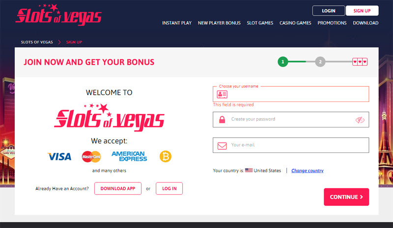 When players sign up, Slots of Vegas assures a positive play experience with a huge % sign-up bonus.With a $ deposit, that amounts to a maximum $ bonus, enough to keep players playing for hours of top rated casino excitement.