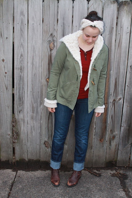 Bundled up outfit: cuffed straight-leg Gap jeans, vintage riding boots, olive green jacket, fuzzy Anthropologie hoodie, red thermal shirt, hand-knit half turbin