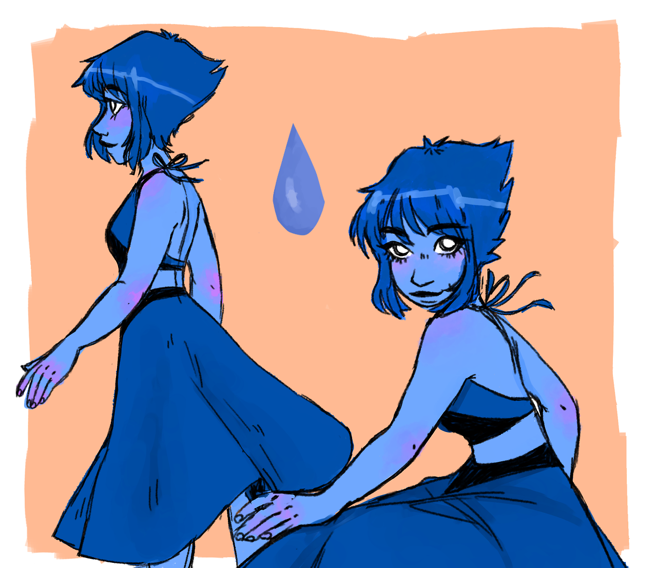 Meet my wife y'all, Lapis Lazuli ((Also i forgot to draw the gem on her back whoops))