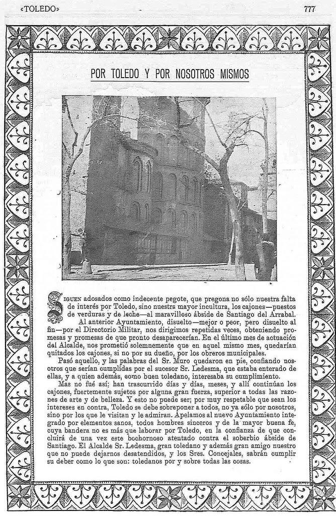 Artículo de denuncia por la presencia de adosados en la Iglesia de Santiago del Arrabal. Texto de Santiago Camarasa. Revista Toledo, 1923