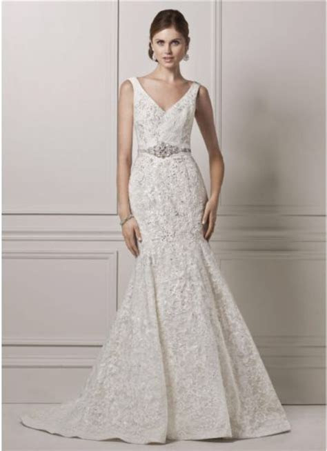 Oleg Cassini Tank lace and Deep V Wedding Dress New