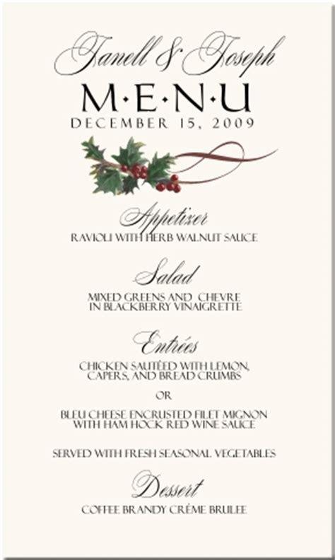 Winter Theme Wedding Menu Cards Snowflake Wedding Menu