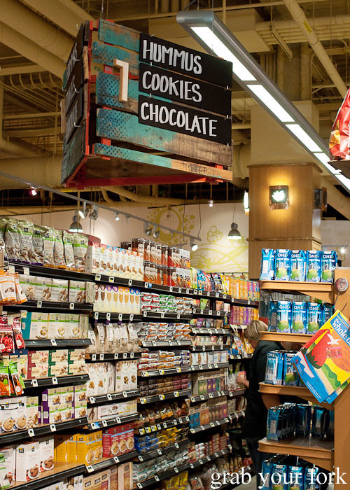hummus chocolate aisle at whole foods market flagship store supermarket groceries austin texas