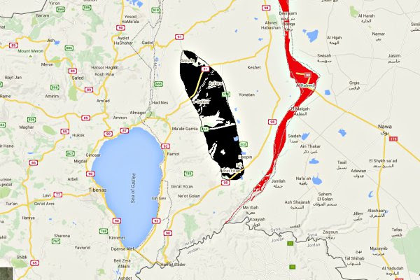 The read area marks the eastern border with Syria, The black area is the approximate location of the oil drills.