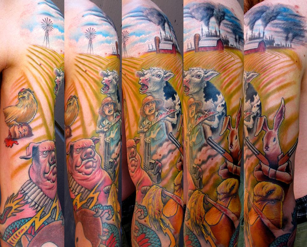 Stefano Alcantara Tattoos Half Sleeve Animal Farm Rebelion