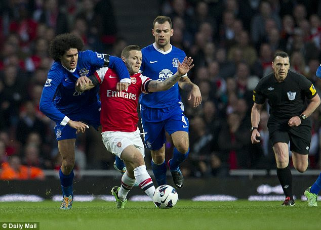 Powerhouse: Fellaini could bolster Arsenal midfield