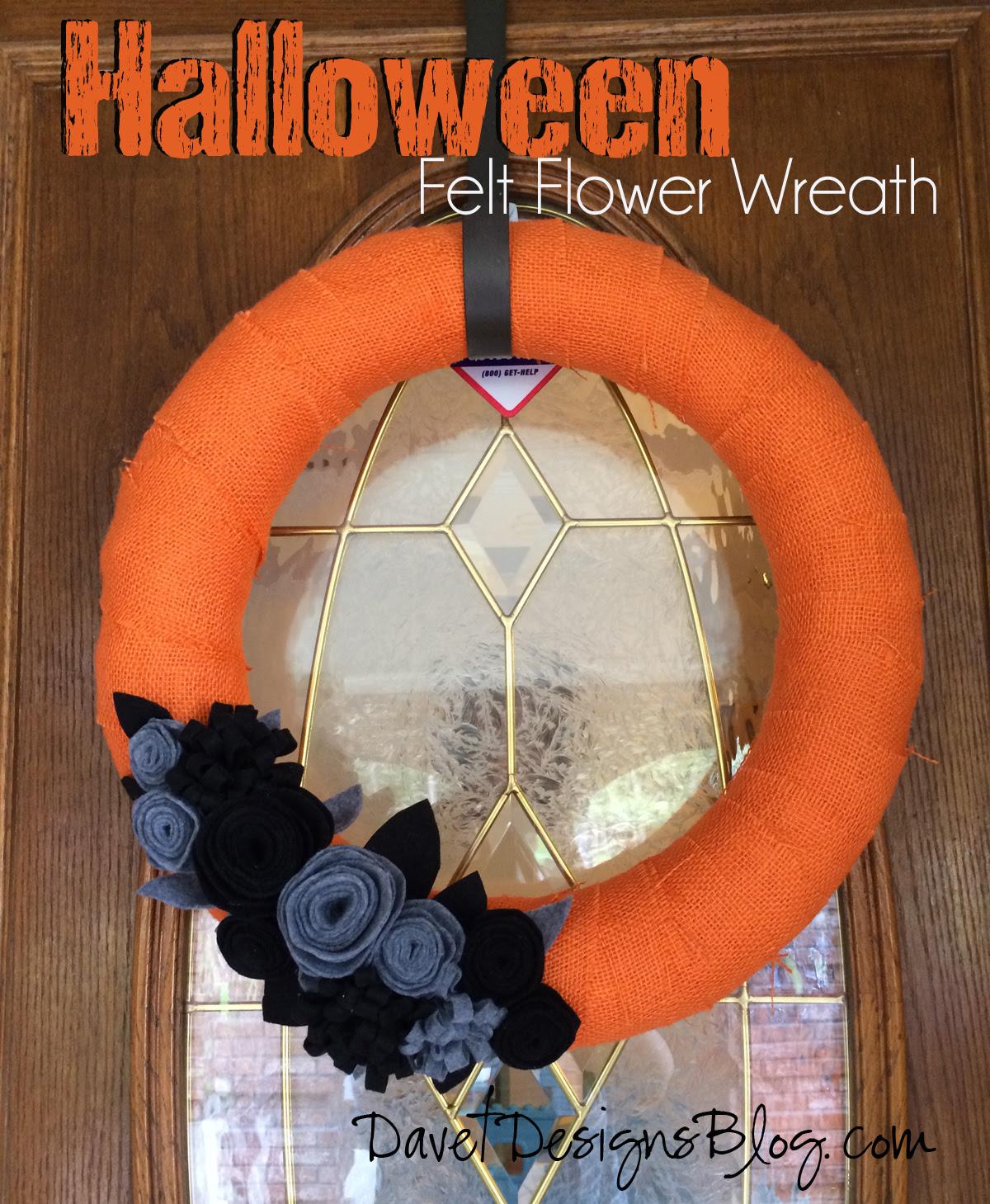 DIY Halloween Felt Flower burlap wreath