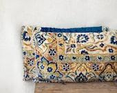 carpet pillows, 12 x 18, SET OF TWO,  rug lumbar pillow, blue cream taupe yellow, Uzbek ethnic, velour pillows, Anatolian style - MulberryWhisper