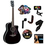 Yamaha FGX720SCA Black Acoustic-Electric Guitar Bundle w/Legacy Acc Kit (Tuner, DVD, Capo and More)