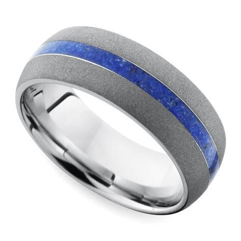 Sandblasted Domed Men's Wedding Ring with Lapis Inlay in