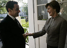 President of France Nicholas Sarkozy, US First Lady Laura Bush, Freemasonry Secret Handshake