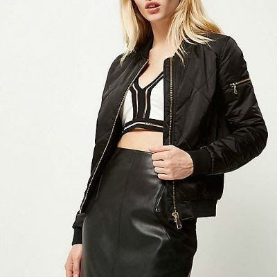 Black Satin Quilted Bomber #1
