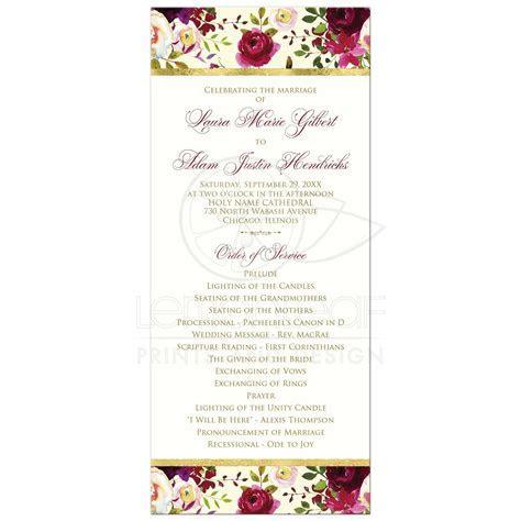 Floral Wedding Program   Burgundy Watercolor Flowers