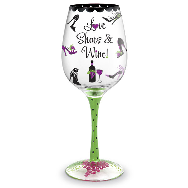 Love Shoes Wine Hand Decorated Wine Glass Everythingbutwinecom