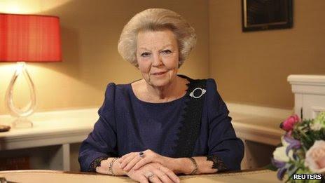 Queen Beatrix poses before recording her abdication speech