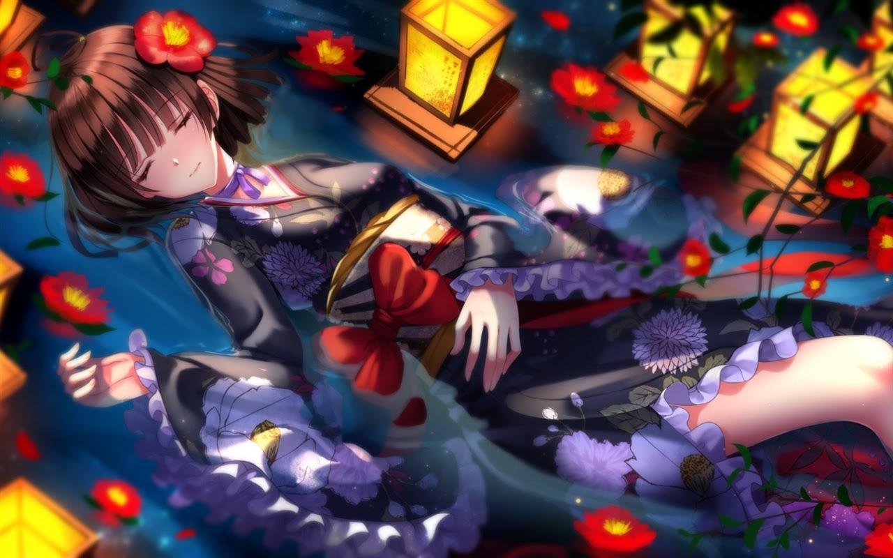 剣の魂 着物アニメの女の子 花 夜 デスクトップの壁紙 1280x800