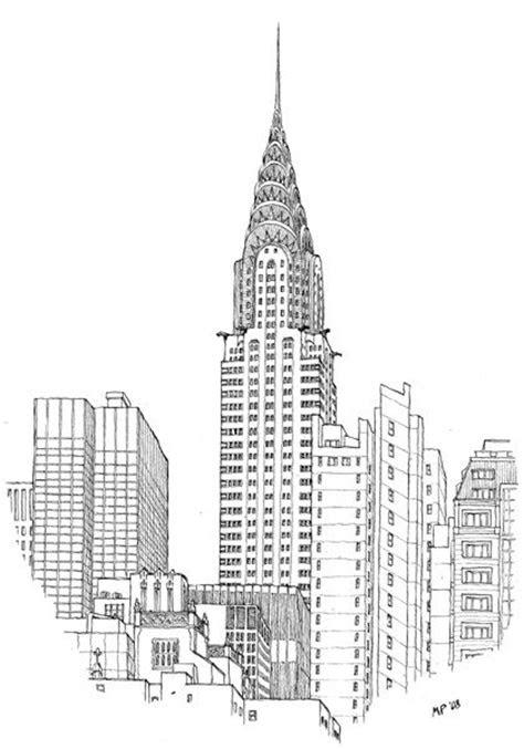 chrysler building drawn   great matteo pericoli