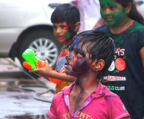 Holi (The festival of colors) celebration in full swing