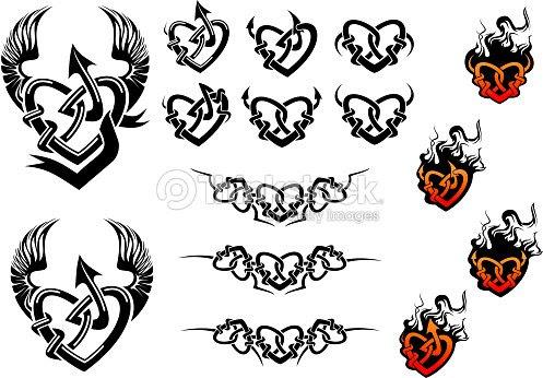 Tatuajes Entwined Corazón Con Alas Y Llamas Arte Vectorial Thinkstock