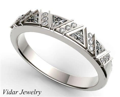 Triangle Diamonds Womens Wedding Band   Vidar Jewelry