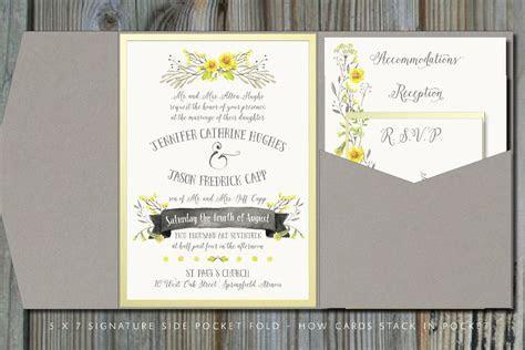 Summery Yellow & Gray Pocket Fold Wedding Invitation