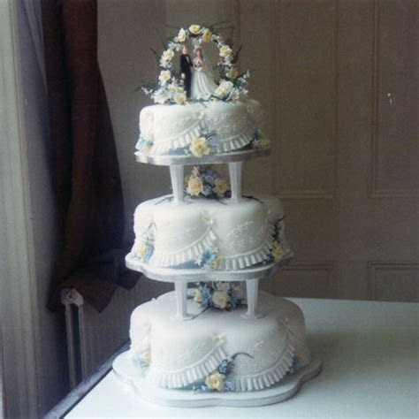 3 Tier Wedding Cake with Yellow Roses, Blue and White