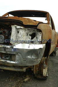 a fire damaged truck