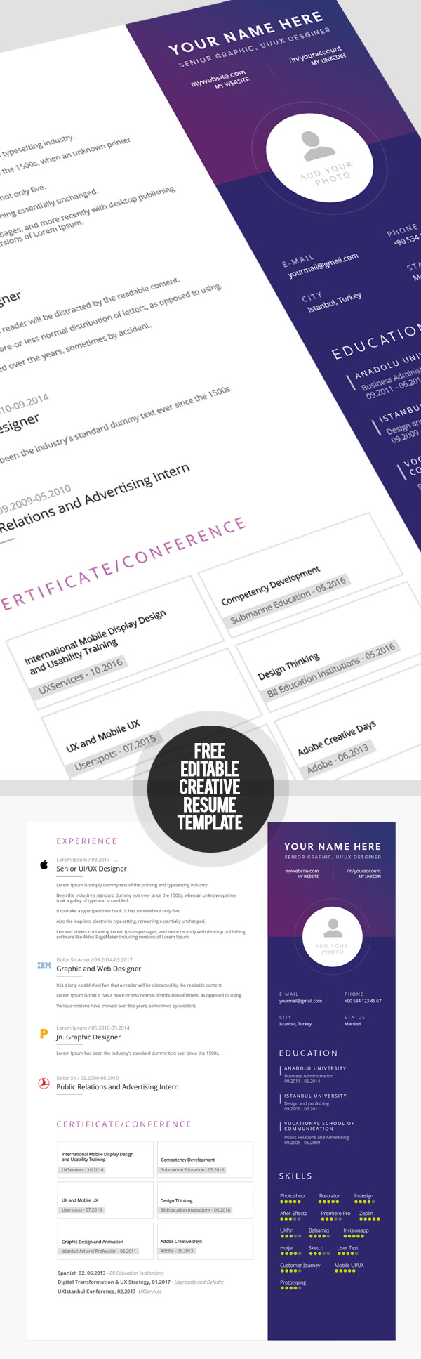 23 Free Creative Resume Templates with Cover Letter | Freebies | Graphic Design Junction