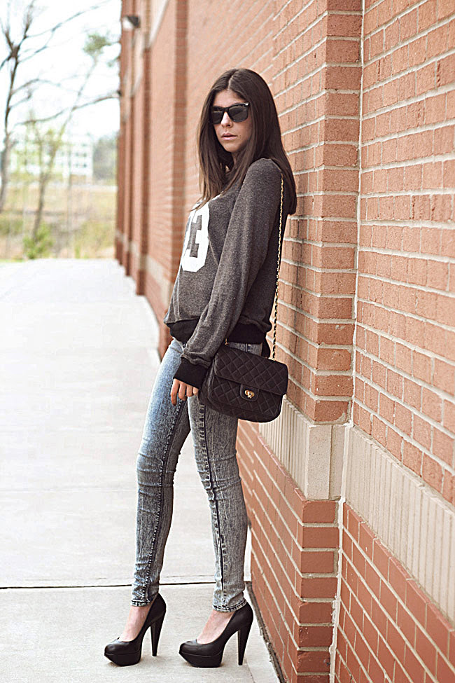 Wildfox Couture, Fashion, Aldo pumps, heels, Acid Wash skinny jeans