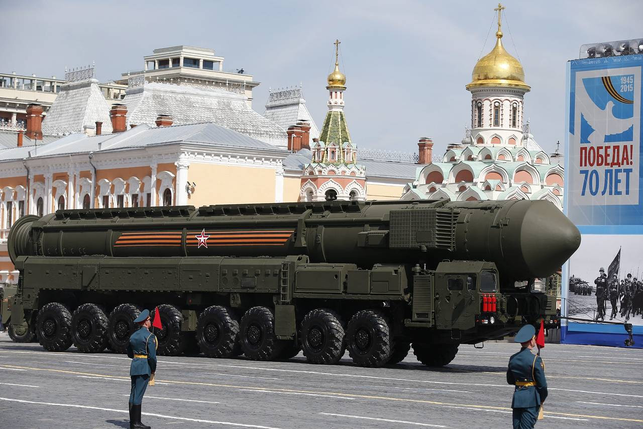 A Russian strategic ballistic missile RS-24 Yars launching vehicle takes part in the Victory Day military parade.