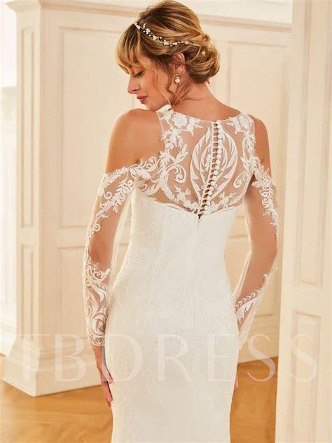 Long Sleeve Appliques Lace Open Shoulder Wedding Dress