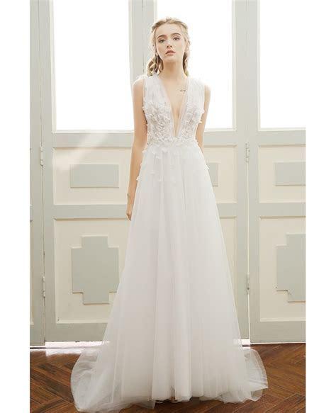 A line Simple Boho Wedding Dress Deep V neck Sweep Train