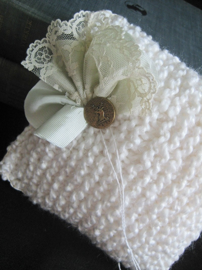 Winter Romance Knit Ring Pillow