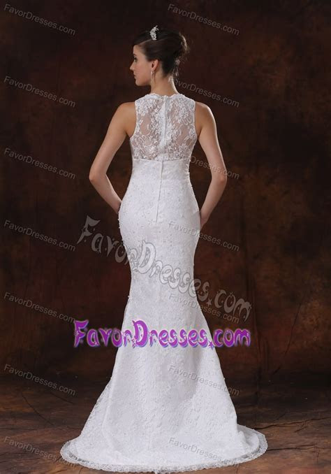 Unique Lace Mermaid V Neck Wedding Dress with Sweep Train