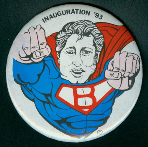 Bill Clinton Inauguration '93 superhero button