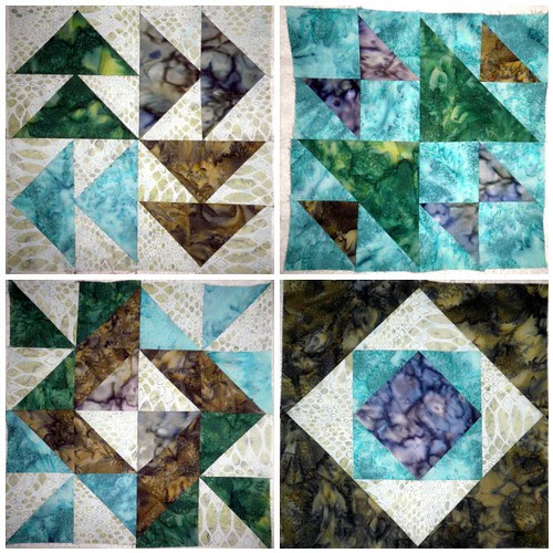 Blocks 1 -4:  Fabric Fascination Quilt Along