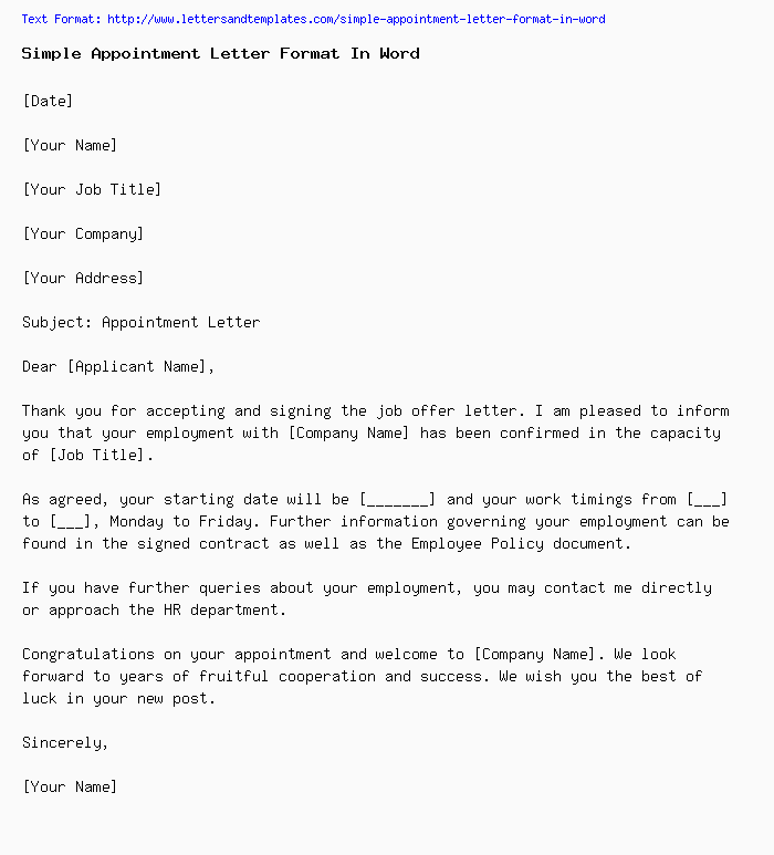 Simple Appointment Letter Format In Word