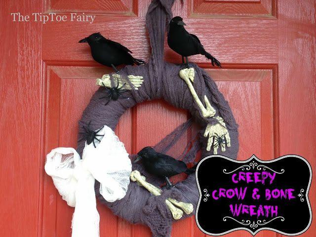 The TipToe Fairy: Halloween Wreath - Creepy Crows & Bones!