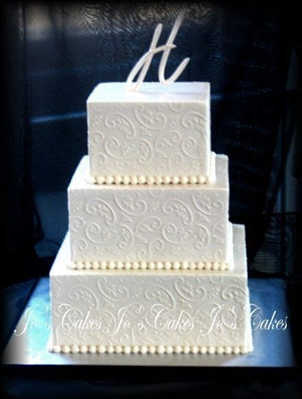 Three Tier Square Wedding Cakes   All buttercream