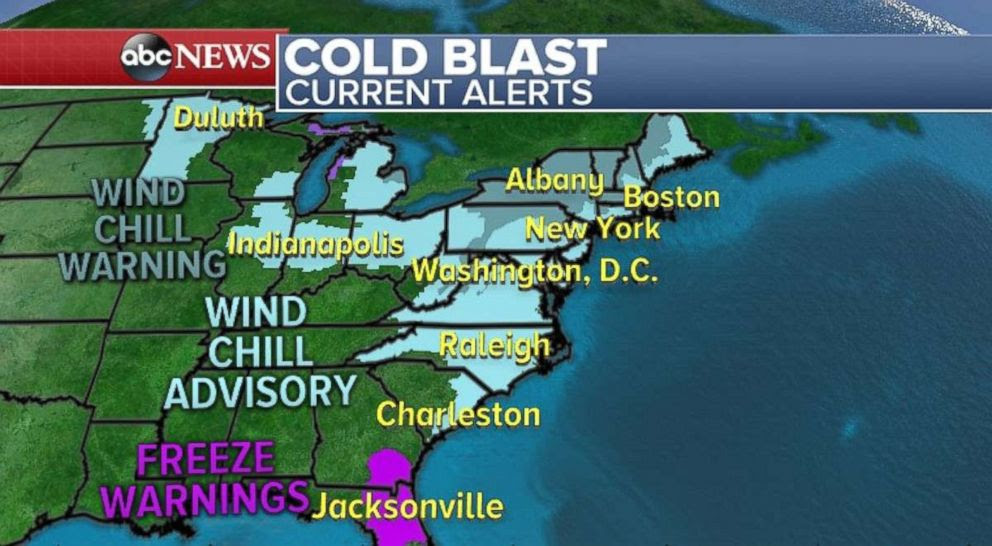 PHOTO: Parts of the Northeast and Midwest woke up Saturday morning to a bitter cold blast.