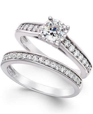 TruMiracle Diamond Bridal Engagement Ring Set in 14k White
