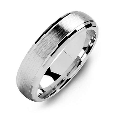 dome shaped brushed mens ring  baguette edges