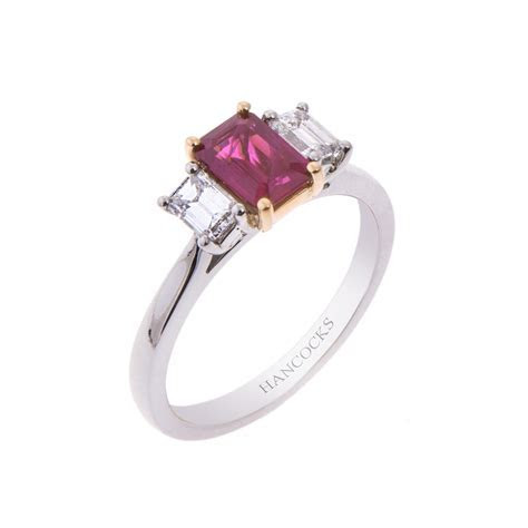 Platinum and 18ct Gold Ruby and Diamond 3 Stone Ring