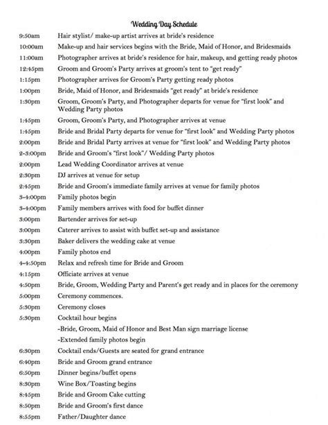 25  best ideas about Wedding day itinerary on Pinterest