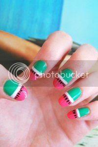 watermelon nail art, tutorial, easy nails, nail art blog