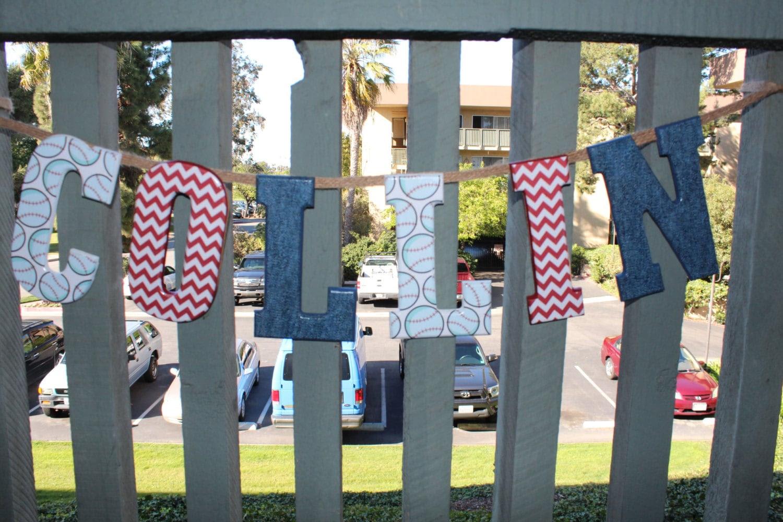 Custom Name Banner Wood LettersNursery Boy Girl by SparklesInLove