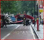 Bombed bus at Russell Square (near the British Museum)