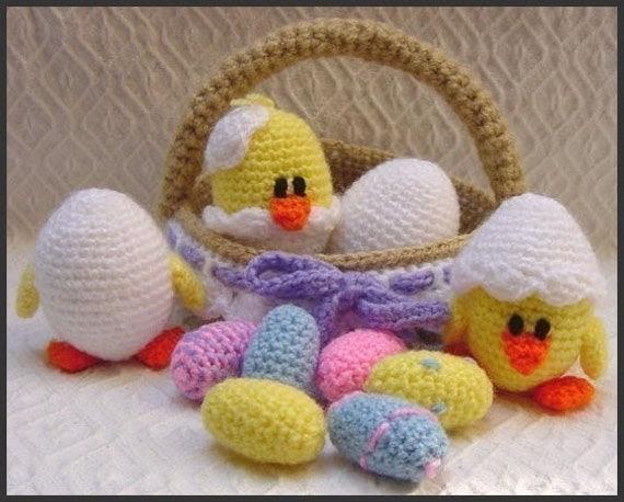 AMIGURUMI PATTERN Crochet pdf - Eggs in a Basket