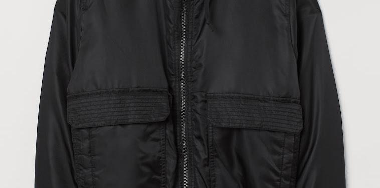 Black Bomber Jacket With Hoodie
