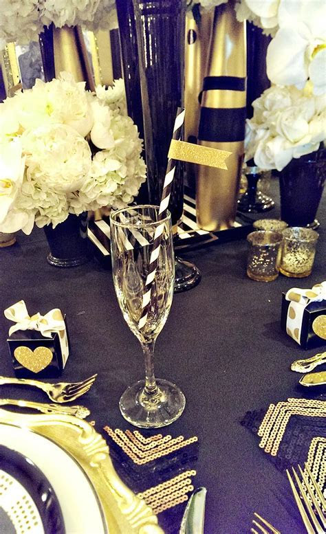 Modern Black And Gold Tablescape   B. Lovely Events